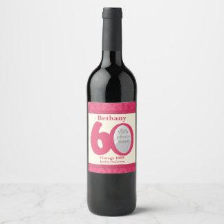 Vintage 60th birthday photo custom wine labels