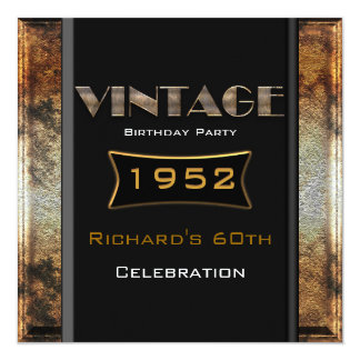 Vintage 60th Rusty Gold Black Birthday Party Card