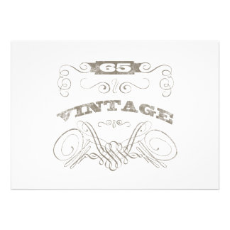 Vintage 65th Birthday Personalized Invitations