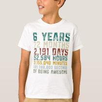 Vintage 6 Years Old 6th Birthday Boy Anniversary T-Shirt