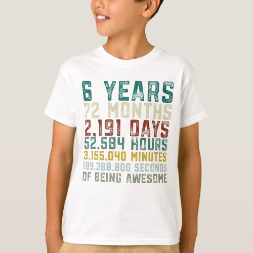 Vintage 6 Years Old 6th Birthday Boy Anniversary T_Shirt