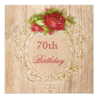 Vintage 70th Birthday Red Rose Wooden Frame Card