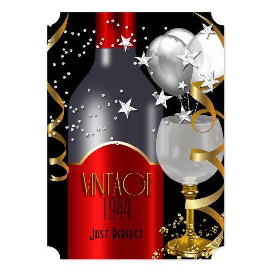 Vintage 70th Birthday Red Wine Black Gold Silver 2 Invitation
