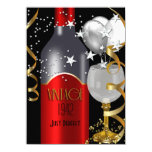 Vintage 70th Birthday Red Wine Black Gold Silver Card