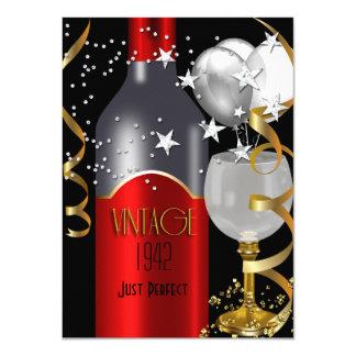 Vintage 70th Birthday Red Wine Black Gold Silver 4.5x6.25 Paper Invitation Card