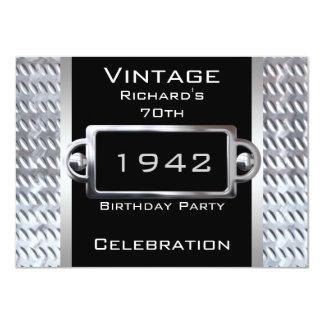 Vintage 70th Black Metal Birthday Party Card