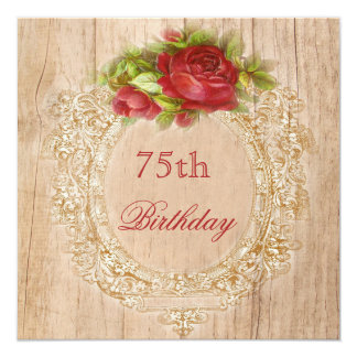 Vintage 75th Birthday Red Rose Wooden Frame Card