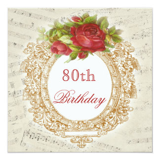 Vintage 80th Birthday Red Rose Frame Music Sheet 5.25x5.25 Square Paper Invitation Card