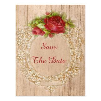 Vintage 80th Birthday Red Rose Wooden Frame Postcard