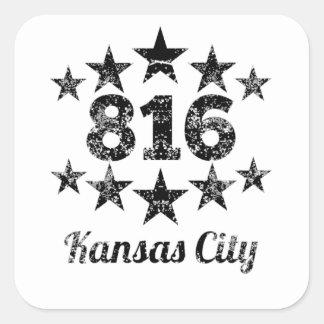 Vintage 816 Kansas City Pegatina Cuadrada