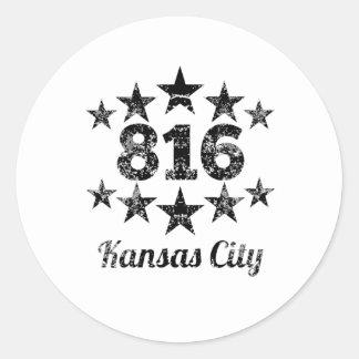 Vintage 816 Kansas City Pegatina Redonda