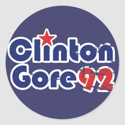 Vintage 90s Clinton Gore 1992 Classic Round Sticker