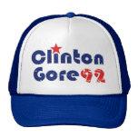 Vintage 90s Clinton Gore 1992 Gorros Bordados
