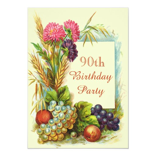 Vintage 90th Birthday Colorful Fruits & Flowers 5x7 Paper Invitation Card