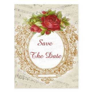 Vintage 90th Birthday Red Rose Frame Music Sheet Postcard