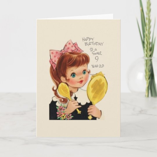 Vintage 9 Year Old Girl Birthday Card