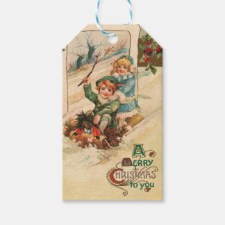 Vintage A Merry Christmas Holiday Gift Tags