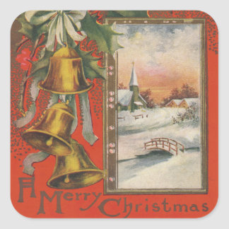 """Vintage """"A Merry Christmas"""" with Bells Square Sticker"""