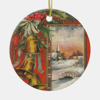 """Vintage """"A Merry Christmas"""" with Christmas Bells Ceramic Ornament"""