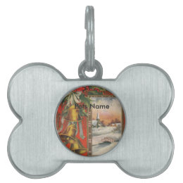 "Vintage ""A Merry Christmas"" with Christmas Bells Pet Name Tag"