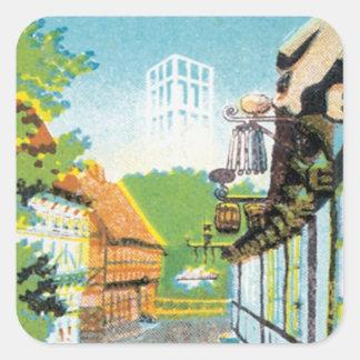 Vintage Aarhus Dinamarca Pegatina Cuadrada