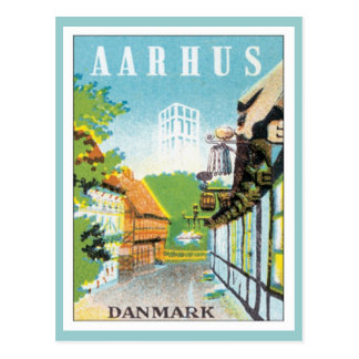 Vintage Aarhus Dinamarca Postal