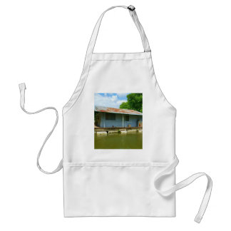 Vintage Abandoned Boat Dock House on Water Adult Apron