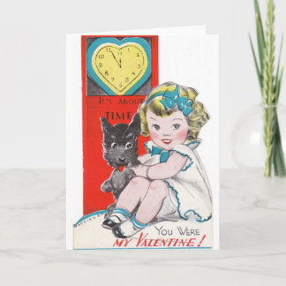 Vintage About Time Valentine's Day Card