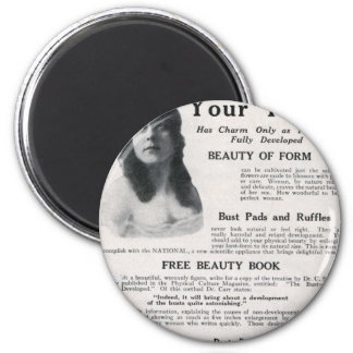 "Vintage ""About Your Figure"" 2 Inch Round Magnet"