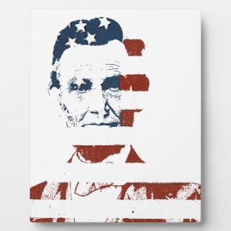 Vintage abraham lincoln american flag plaque