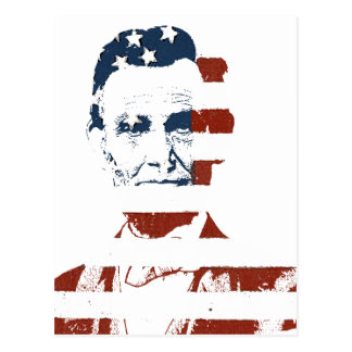 Vintage abraham lincoln american flag postcard