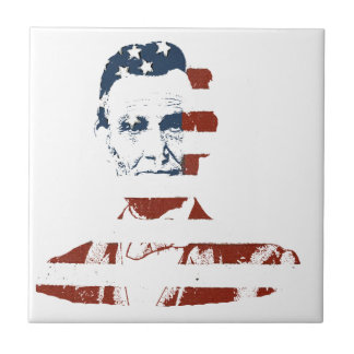 Vintage abraham lincoln american flag small square tile
