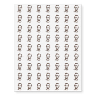 Vintage Abraham Lincoln Portrait Temporary Tattoos