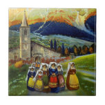 Vintage Abruzzo Italy Travel Poster Ceramic Tiles