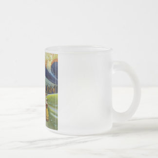 Vintage Abruzzo Italy Travel Poster Frosted Glass Coffee Mug