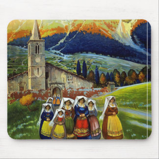 Vintage Abruzzo Italy Travel Poster Mouse Pad