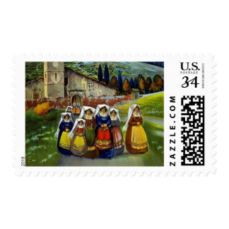 Vintage Abruzzo Italy Travel Poster Stamp