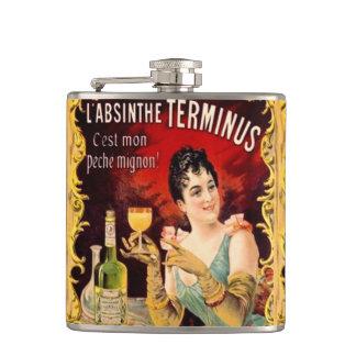 Vintage Absinthe Lady Drinking Art Nouveau Label Flask