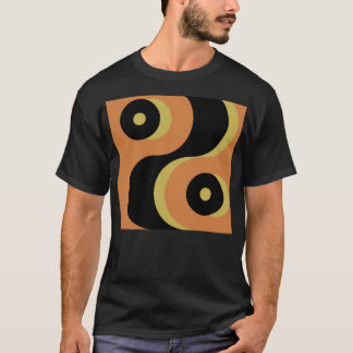Vintage Abstract Black and Yellow Wavy Squares T-Shirt