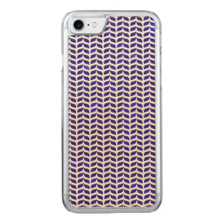 Vintage abstract blue leafs pattern carved iPhone 7 case