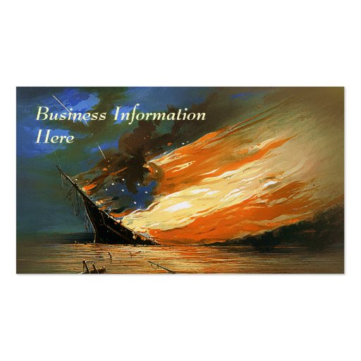 Vintage Abstract Burning Flag Business Card