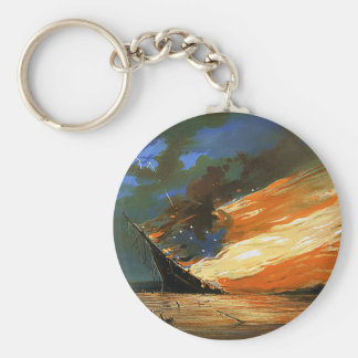 Vintage Abstract Burning Flag Key Chain