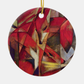 Vintage Abstract Cubism, Foxes by Franz Marc Double-Sided Ceramic Round Christmas Ornament