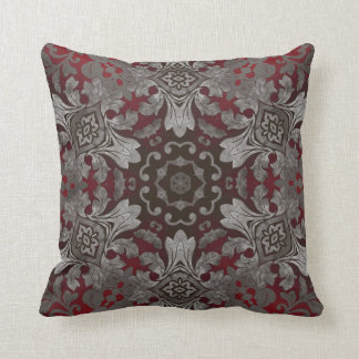 vintage abstract damask pattern silver burgandy throw pillows
