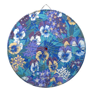 Vintage Abstract Floral Pansy Dartboard With Darts