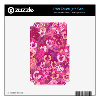 Vintage Abstract Floral Pink Pansy Decals For iPod Touch 4G