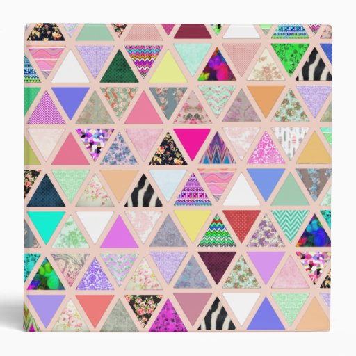 Vintage Abstract Floral Triangles Pastel Patchwork 3 Ring Binders