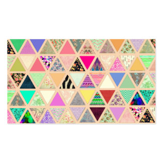Vintage Abstract Floral Triangles Pastel Patchwork Business Card