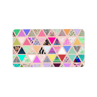 Vintage Abstract Floral Triangles Pastel Patchwork Label