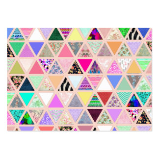 Vintage Abstract Floral Triangles Pastel Patchwork Large Business Card